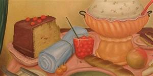 bodegon con sopa de arvejas [detail] by fernando botero